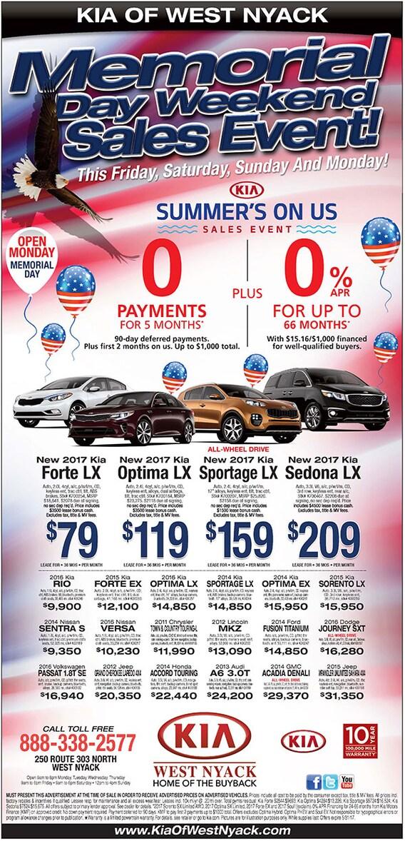 Memorial Day Car Sales 2017 >> Memorial Day 2017 Kia Of West Nyack