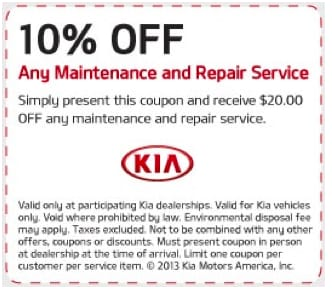 Kia Discount Service Coupon Rainbow City AL