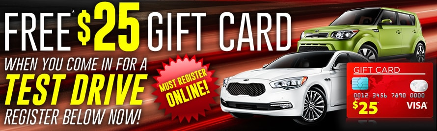 Free $25 Gift Card With New KIA Test Drive