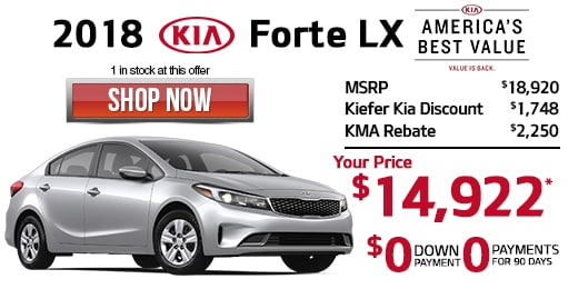 Good *2018 Kia Forte LX. 1 In Stock At This Price, Stock# K8904. MSRP $18,920.  Sale Price $14,922 After $1,748 Kiefer Kia Discount And $2,250 KMA Cash  Back.