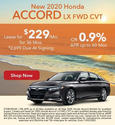 New 2020 Honda Accord LX FWD CVT