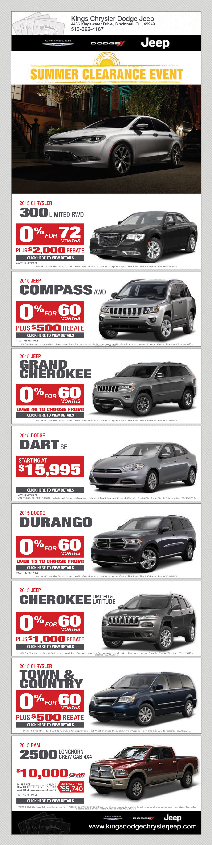 Awesome Kings Chrysler Jeep Dodge Ram Specials August 2015