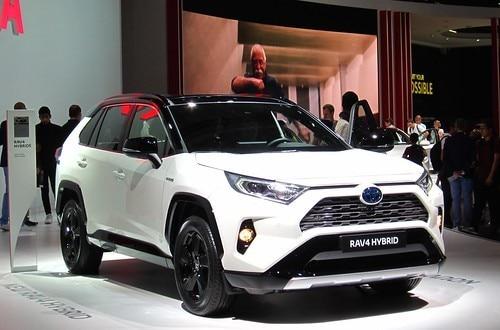 2021 Toyota RAV4 Hybrid in White at Auto Show