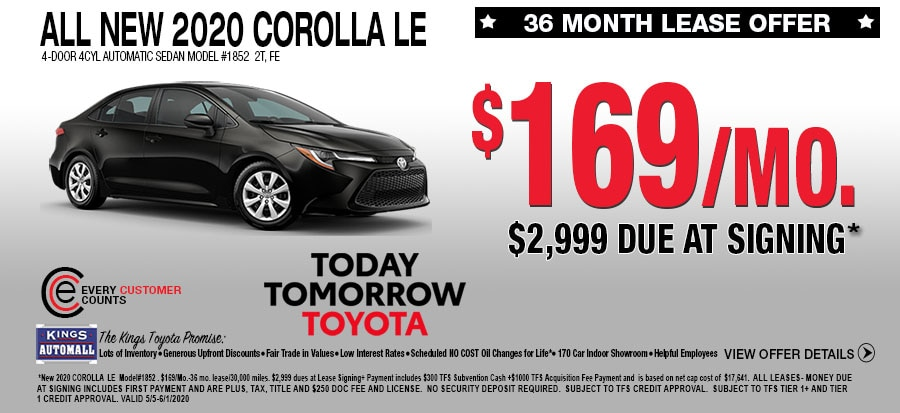 All New Toyota Corolla LE Lease Specials