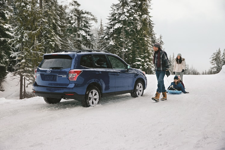 Subaru Forester SUV on snowy road