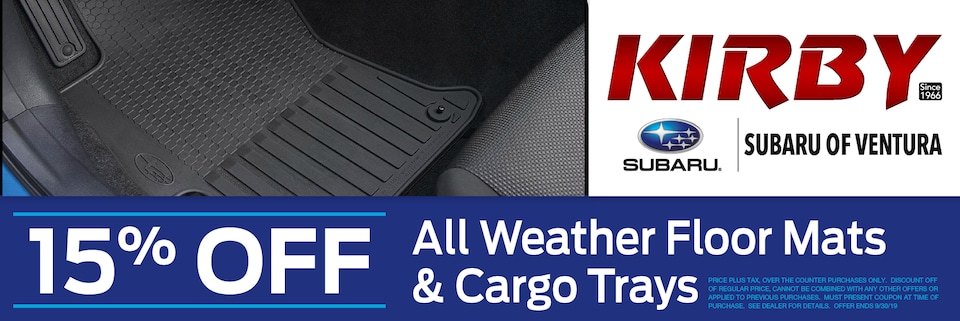 15% OFF All Weather Floor Mats & Cargo Trays