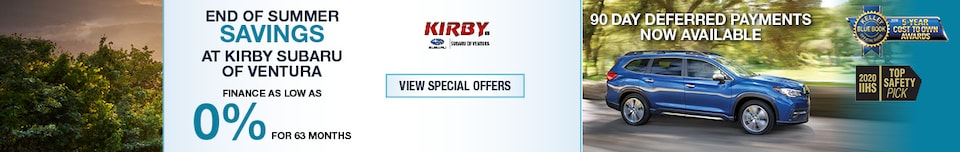 End of Summer Savings at Kirby Subaru of Ventura