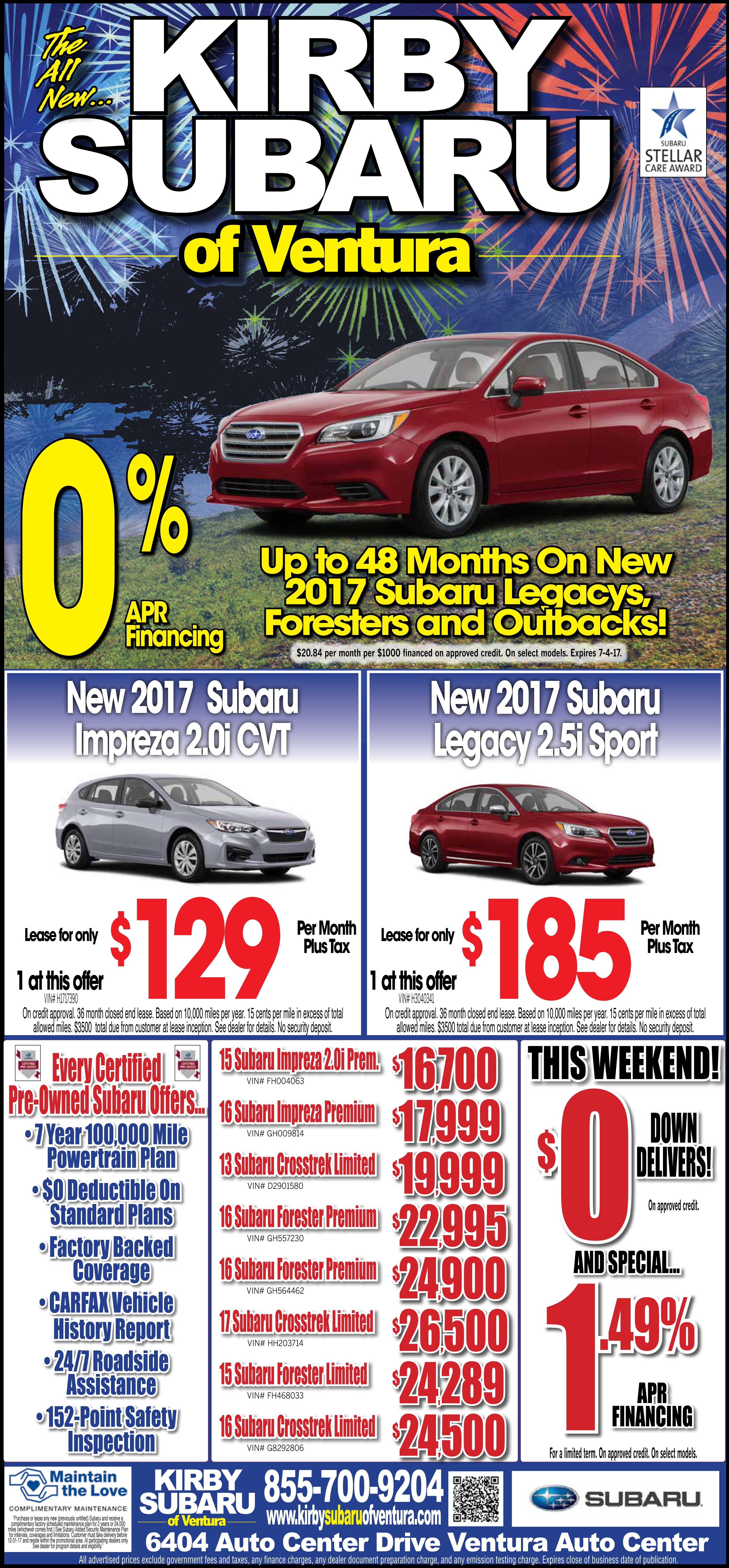 Weekend Subaru Specials at Kirby Subaru of Ventura