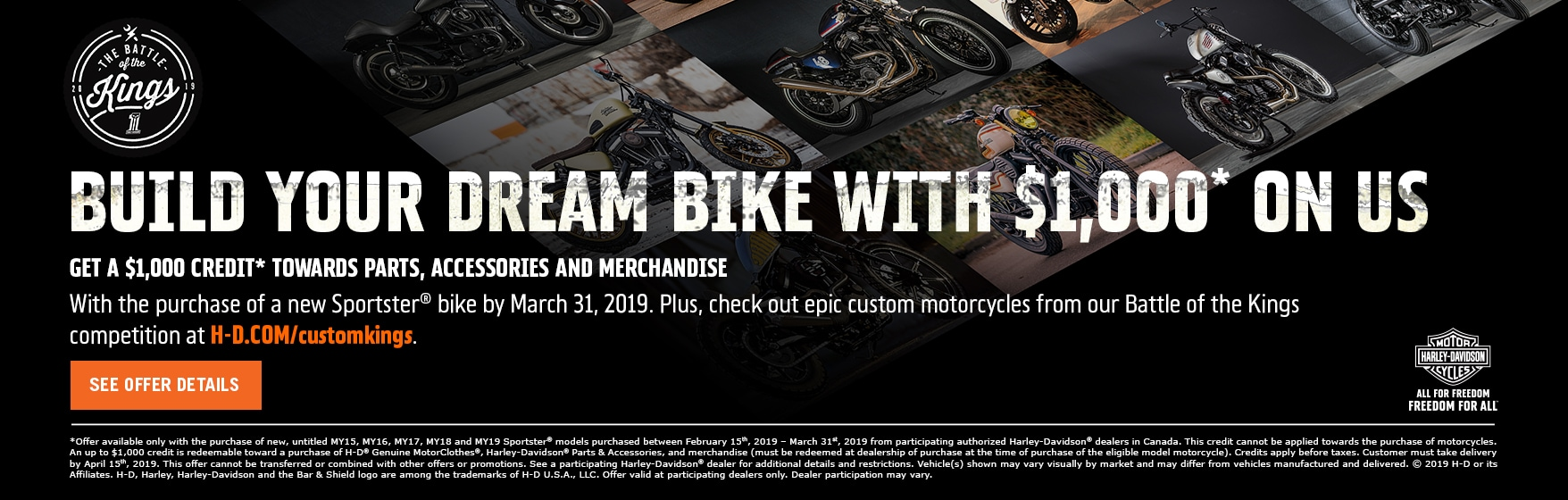 Build Your Dream Bike with $1000.00 on us!