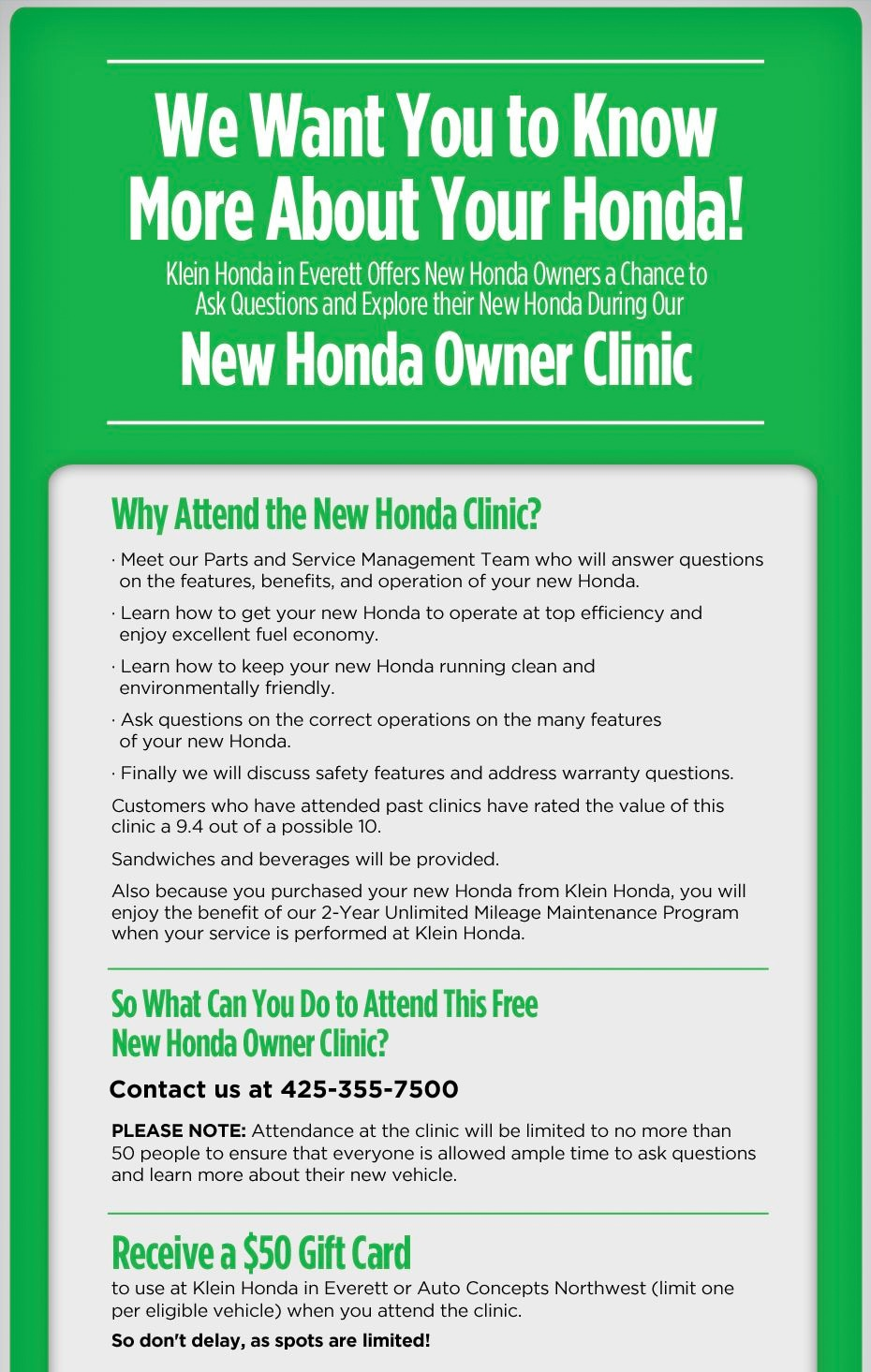 Owners Honda Com >> New Owners Honda Clinic Klein Honda In Everett