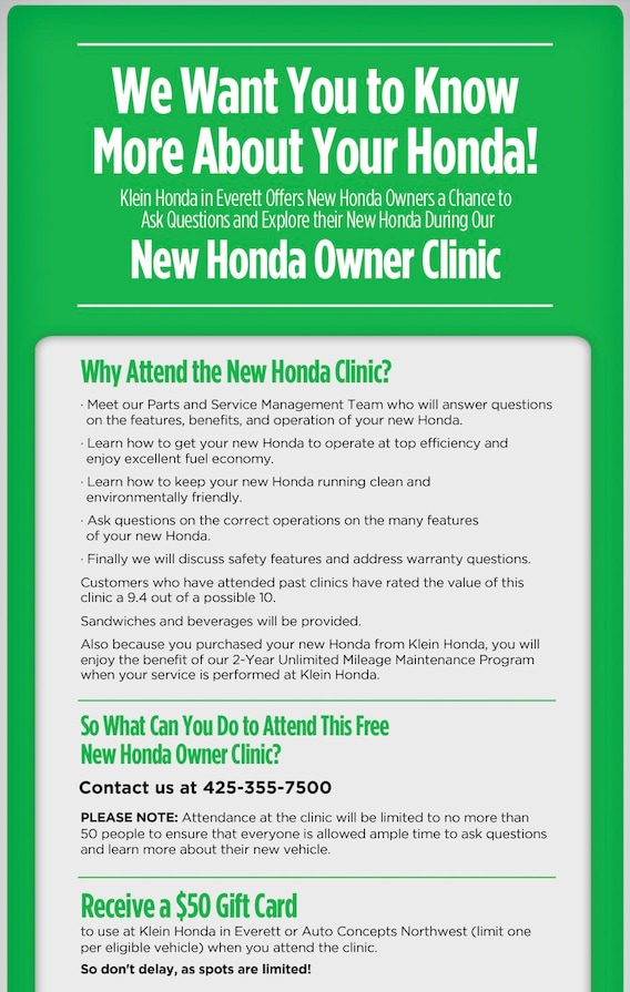 Owners Honda Com >> New Owners Honda Clinic Klein Honda In Everett