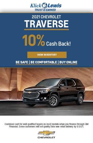 April | 2021 Chevrolet Traverse | Cash back