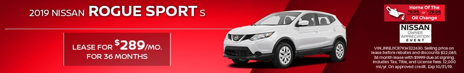 New 2019 Nissan Rogue Sport S | Lease