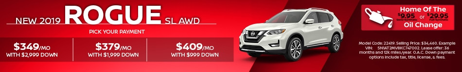 New 2019 Nissan Rogue SL AWD   Pick Your Payment