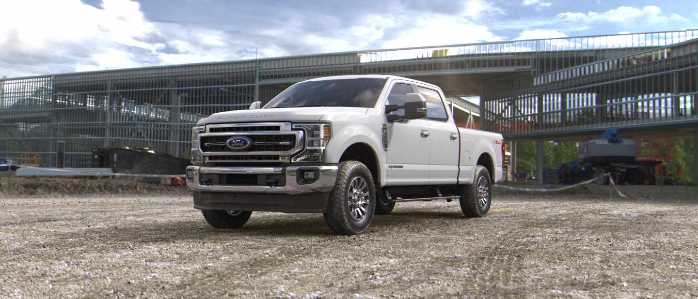 White Ford Super Duty Pickup Truck