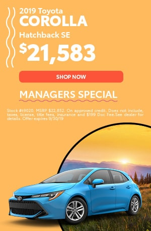 2019 Toyota Corolla - Managers Special