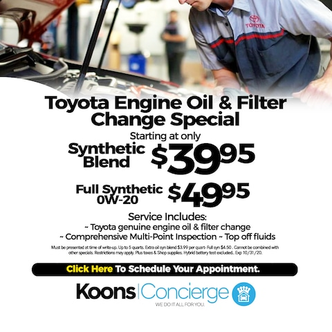 Toyota Oil change special