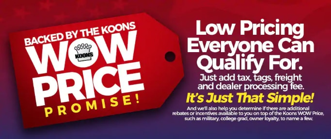 The Koons Wow Price Promise In At Jim Koons Automotive Companies