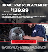 February Brake Pad Special - Chevy