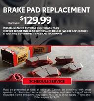 February Brake Pad Special - Toyota