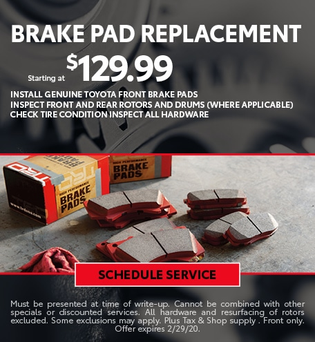 February Brake Pad Special - Toyota