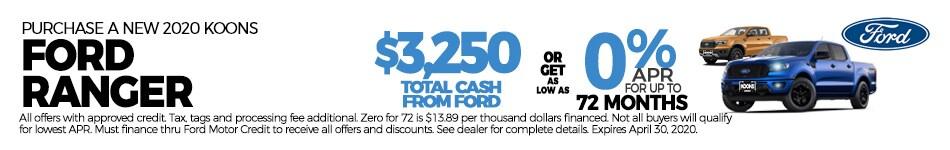April 2020 Ford Ranger 0 for 72