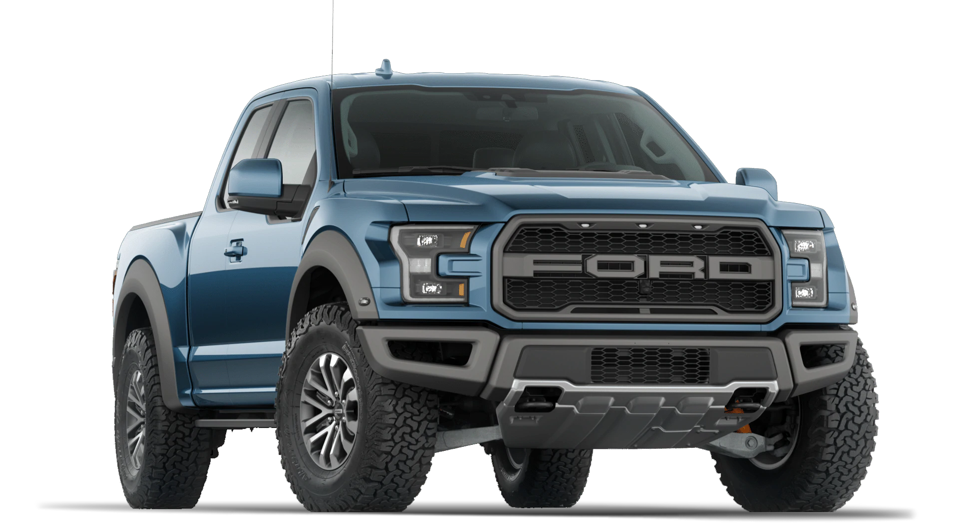 2020 Ford F150 Raptor show with Super Cab in Ford Performance Blue and 802A Luxury Package