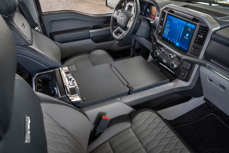 2021 Ford F150 interior work surface with available with stowable gear shift