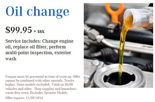 MercedesBenz Oil Change In Baltimore MD MercedesBenz Of - Mercedes benz service coupons