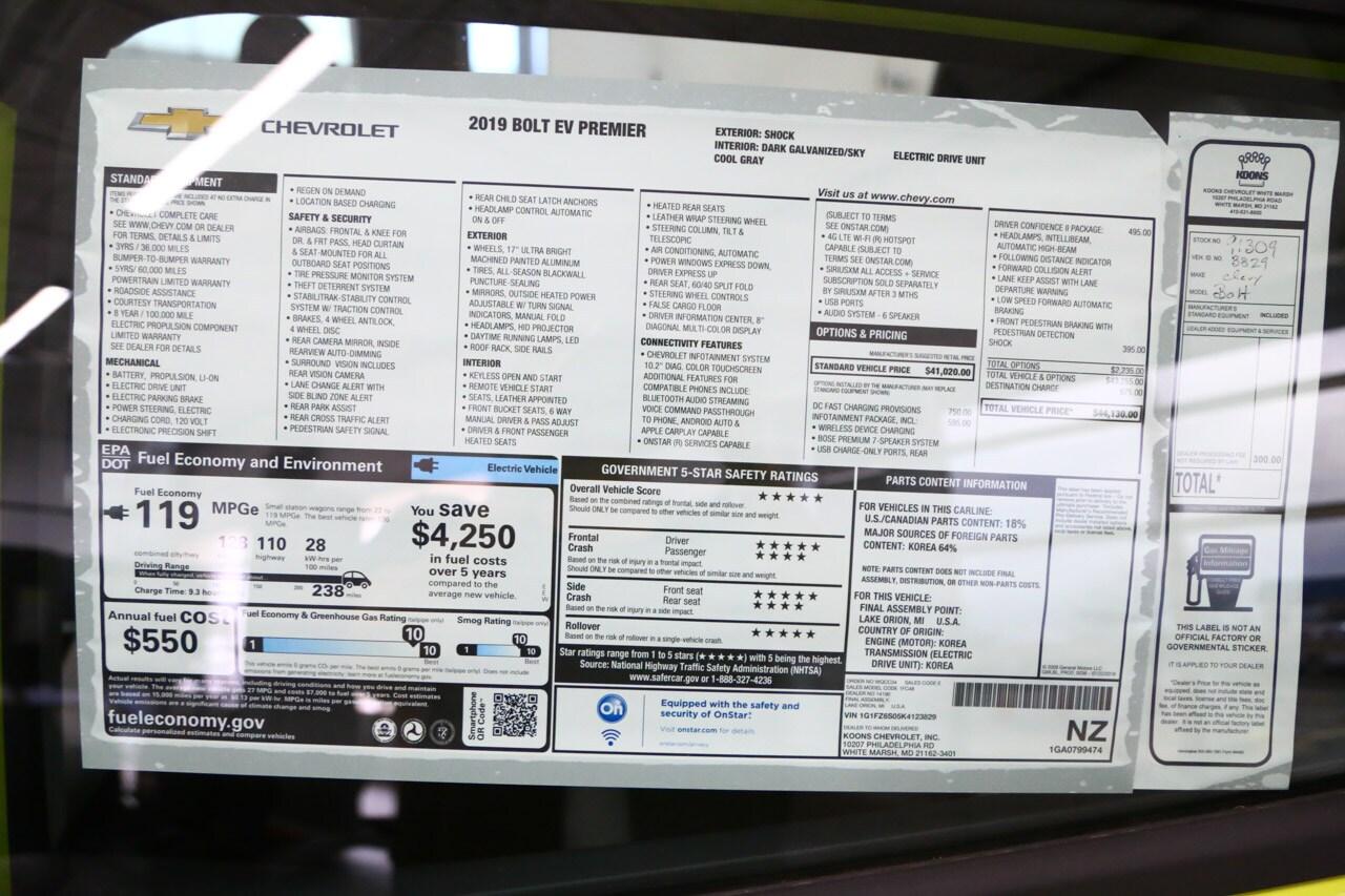 New 2019 Chevrolet Bolt EV Premier For Sale in Baltimore, MD