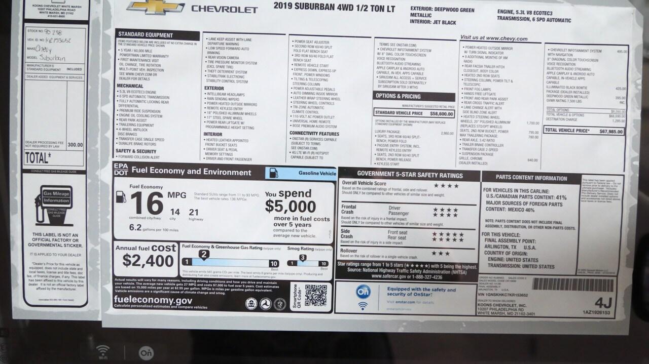 New 2019 Chevrolet Suburban LT For Sale in Baltimore, MD | VIN