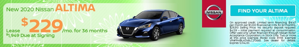 April 2020 Altima Just $229 a Month