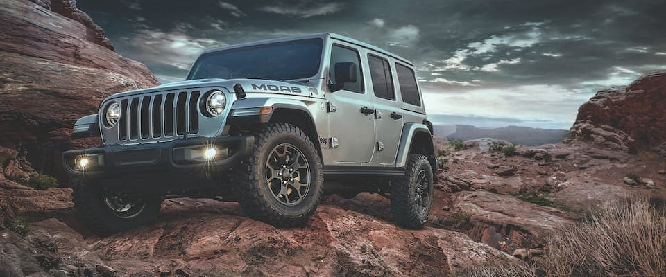 A 2019 Jeep Wrangler MOAB offroading in the desert