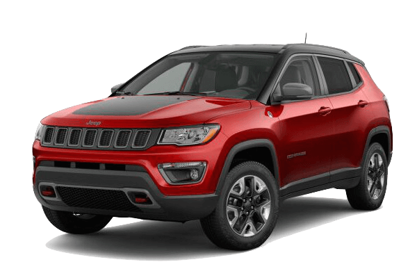 A red 2019 Jeep Compass Trailhawk