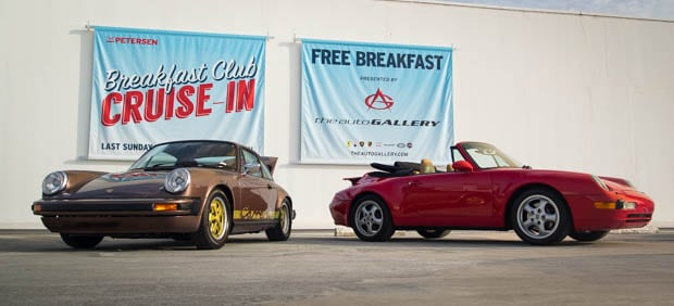 Two Vintage Porsche Cars on Display at The Petersen Museum's Cruise In