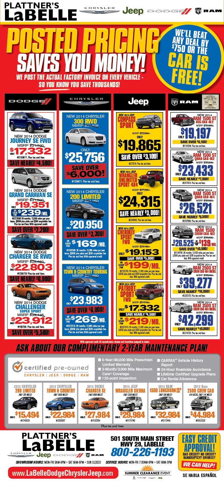 Newspaper Ads Labelle Dodge Chrysler Jeep Ram