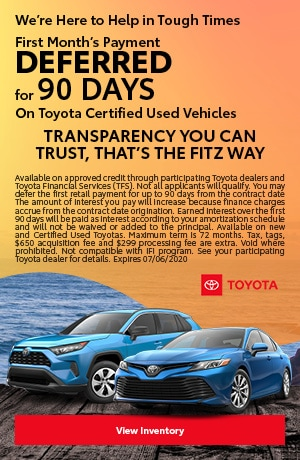 June | Payment Deferred for 90 Days On Toyota Certified Used Vehicles