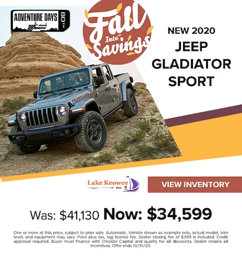 2020 Jeep Gladiator Sport 4X4 Crew Cab Was: $41,130 Now: $34,599