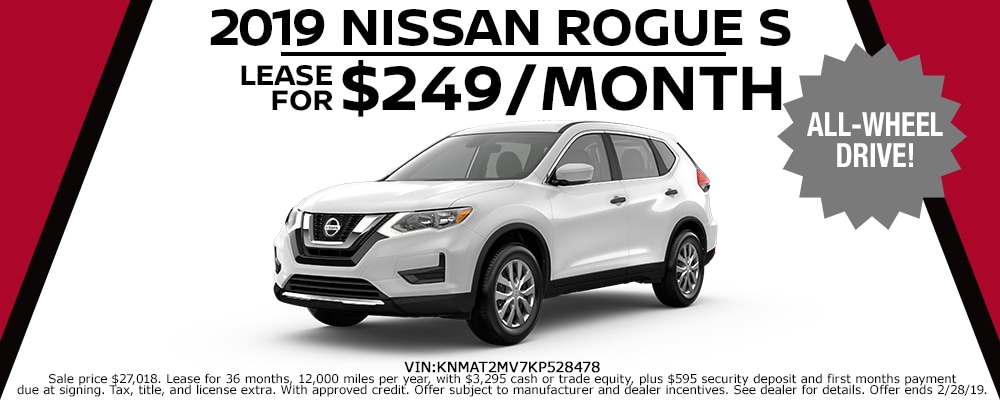 New 2019 Nissan Rogue lease deals offered at Council Bluffs Nissan dealership near Omaha