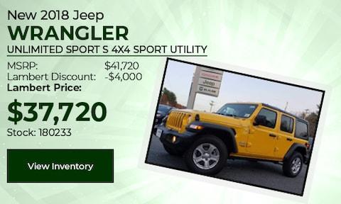 New 2018 Jeep Wrangler Unlimited Sport S 4x4 Sport Utility