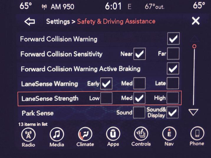 2017 Dodge Charger Safety Features Screen