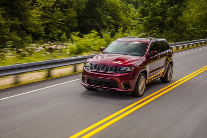 2018 Jeep Grand Cherokee Trackhawk Front Red Driving Exterior