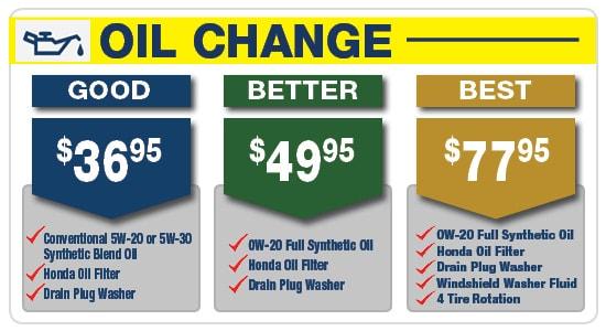 Best Oil Change >> Good Better Best Service Pricing Honda Lancaster