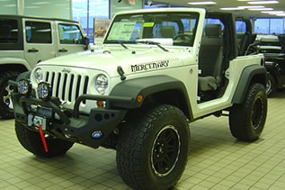 white topless new jeep wrangler