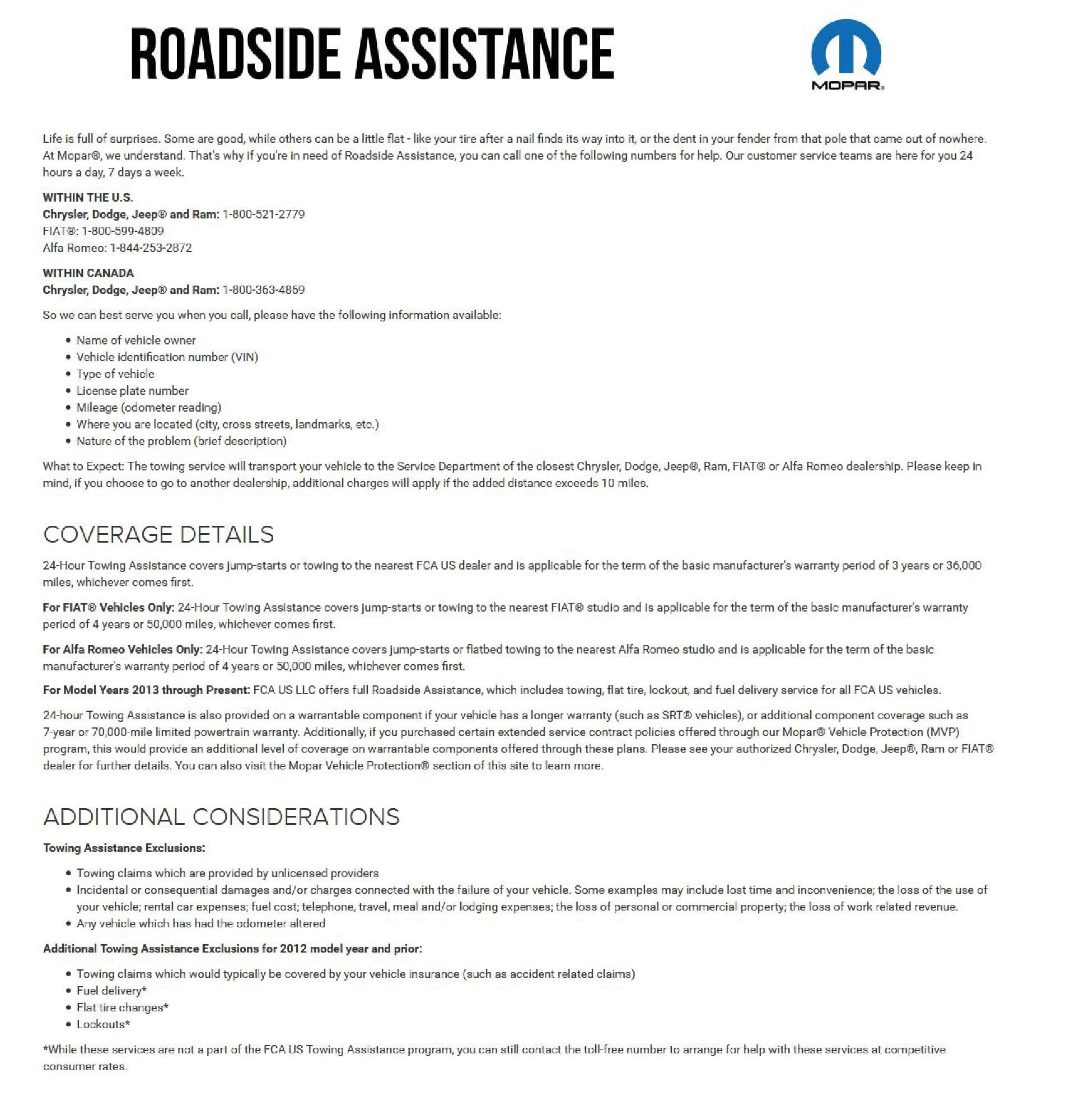 Mopar Roadside Assistance In Springfield IL Landmark Chrysler Jeep - Chrysler roadside assistance
