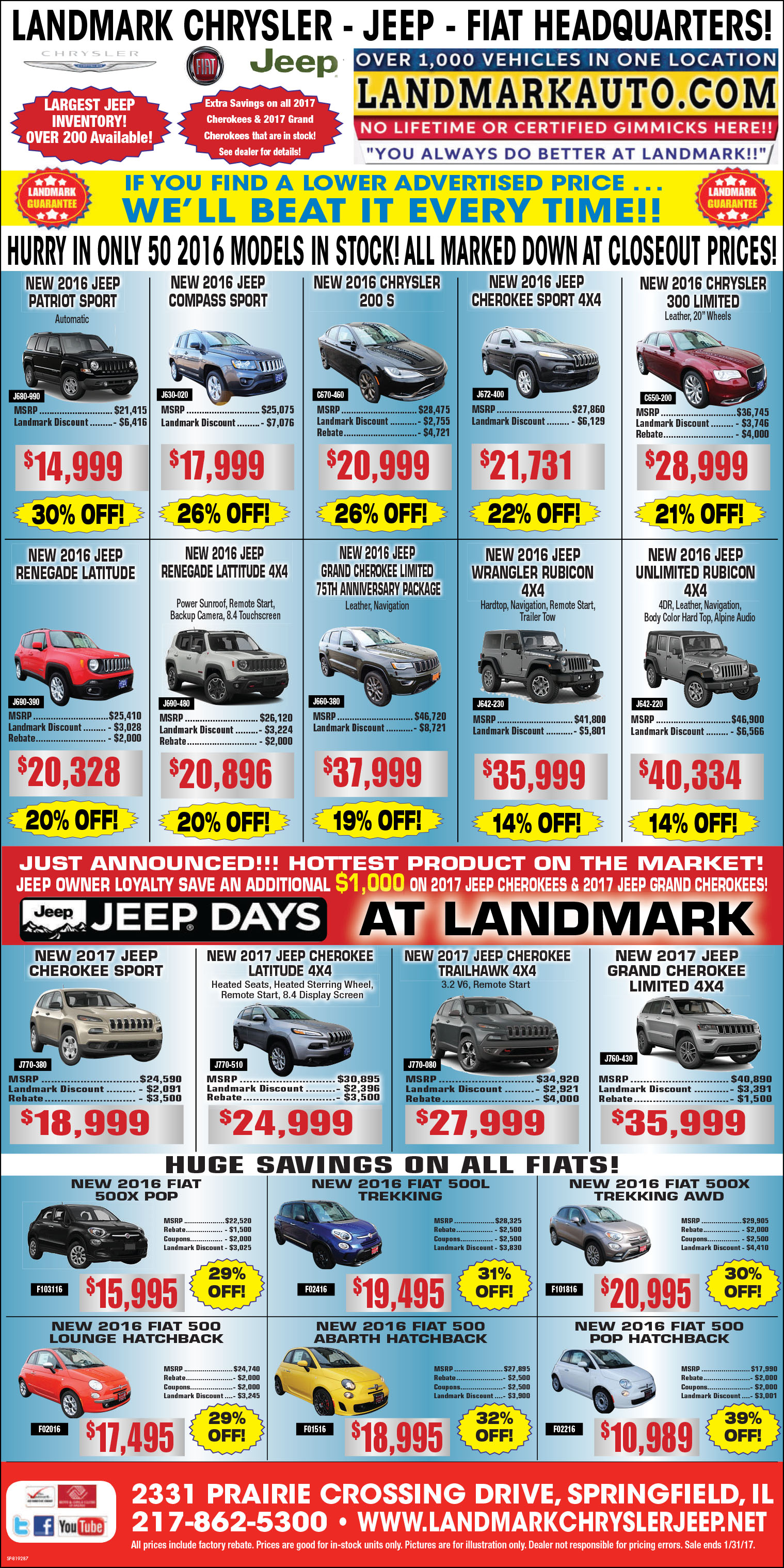 Chrysler & Jeep Monthly Incentives in Springfield IL