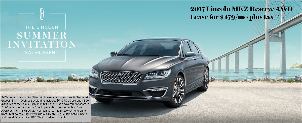 Lincoln Mkz Lease >> Lincoln Mkz Reserve Awd Lease Landmark Lincoln