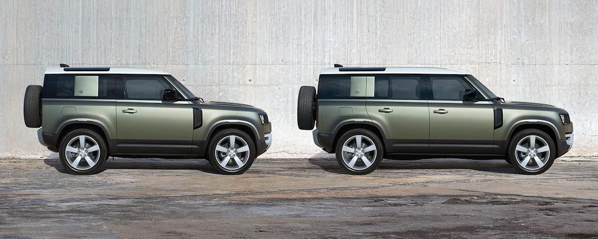2020 Land Rover Defender 90 and 110 side view