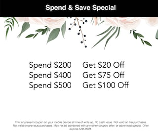 Spend & Save Special May 2021