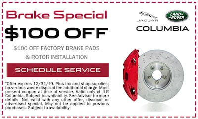$100 off Factory Brake Pads & Rotor Installation